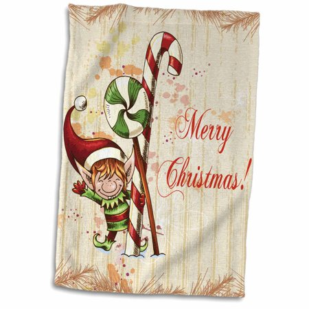3dRose Cute Christmas Elf With Peppermint and Candy Cane Merry Christmas Xmas Holiday Greeting - Towel, 15 by 22-inch