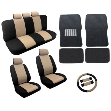 Dual Color Tan Black Two Tone Car Seat Covers Black Mats Set 18Pc Racing Stripe For Honda Civic