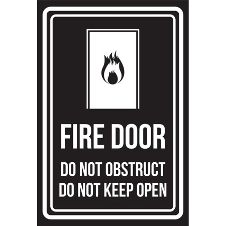 Fire Safety Open House - Fire Door Do Not Obstruct Do Not Keep Open Black and White Business Commercial Safety Warning Large Sign, 12x18