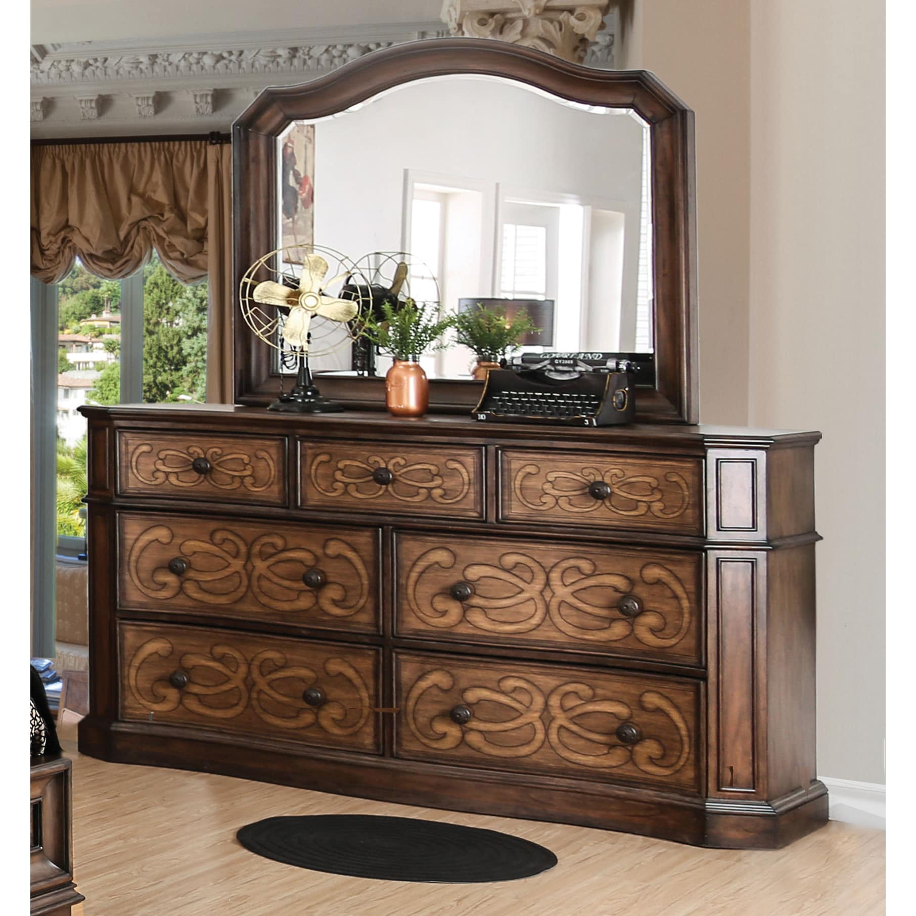 Furniture of America  Palms Wooden 2-piece Laser Cut Warm Chestnut Dresser and Mirror Set