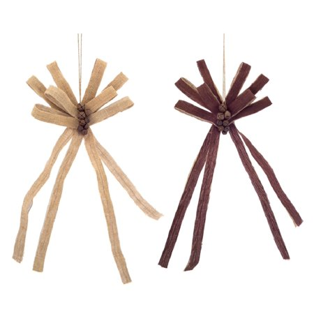 Pack of 6 Brown Burlap Bows with Bells Decorative Country Rustic Christmas Ornaments 21.5