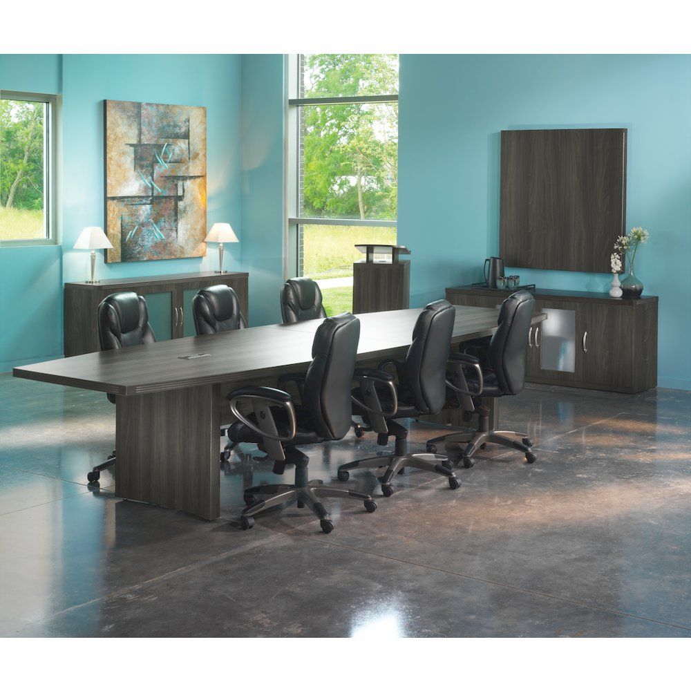 12' Conference Table, Boat Surface, Gray Steel
