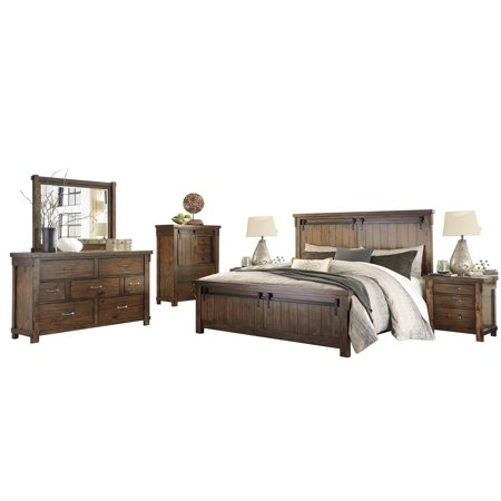 Ashley Furniture Lakeleigh 6 PC Bedroom Set: E King Panel Bed Dresser  Mirror 2 Nightstand Chest Brown