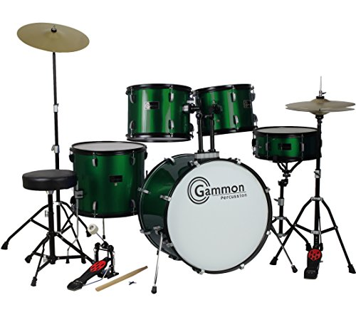 Gammon Drum Set Green Complete Full Size Adult Kit With Cymbals Sticks Hardware And Stool by