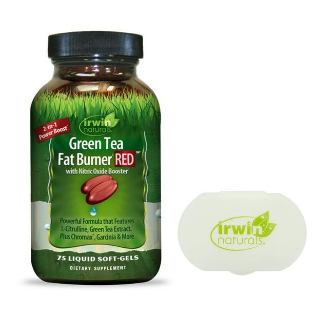 Irwin Naturals Green Tea Fat Burner RED Nitric Oxide Booster 75 ct + Pill Case