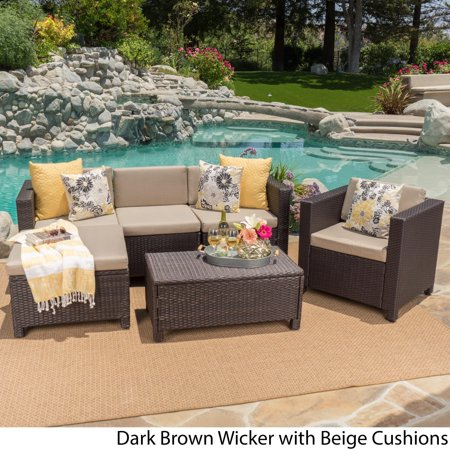 Christopher Knight Home Puerta Outdoor 6 Piece Wicker L Shaped Sectional Sofa Set With