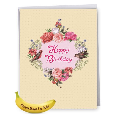 J6577GBDG Jumbo Birthday Card: Birds and Blossoms, Featuring a Beautiful Arrangement of Peonies and the Flower's Fine Feathered Friends, With Envelope, Large Greeting Card, NobleWorks Cards