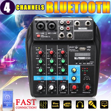 48V 4 Channels Mixer Studio Audio Professional Mixing Console System Fashion DJ Sound USB Stereo Output Fit for family KTV