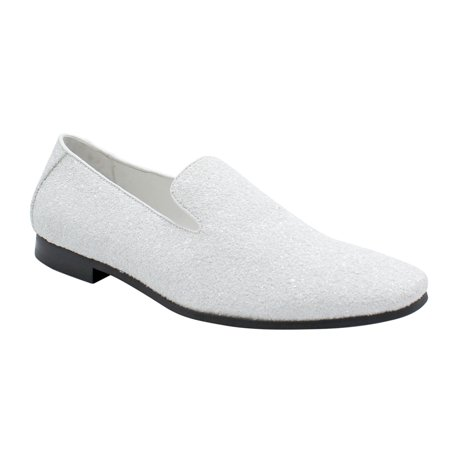 Men Smoking Slipper Metallic Sparkling Glitter Tuxedo Slip on Dress Shoes Loafers White -