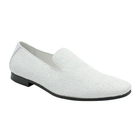 - Men Smoking Slipper Metallic Sparkling Glitter Tuxedo Slip on Dress Shoes Loafers White 7