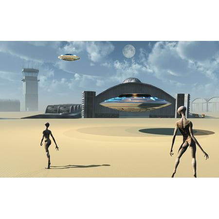 Alien Reptoids And Their Flying Saucers At Area 51 Canvas Art   Mark Stevensonstocktrek Images  18 X 12