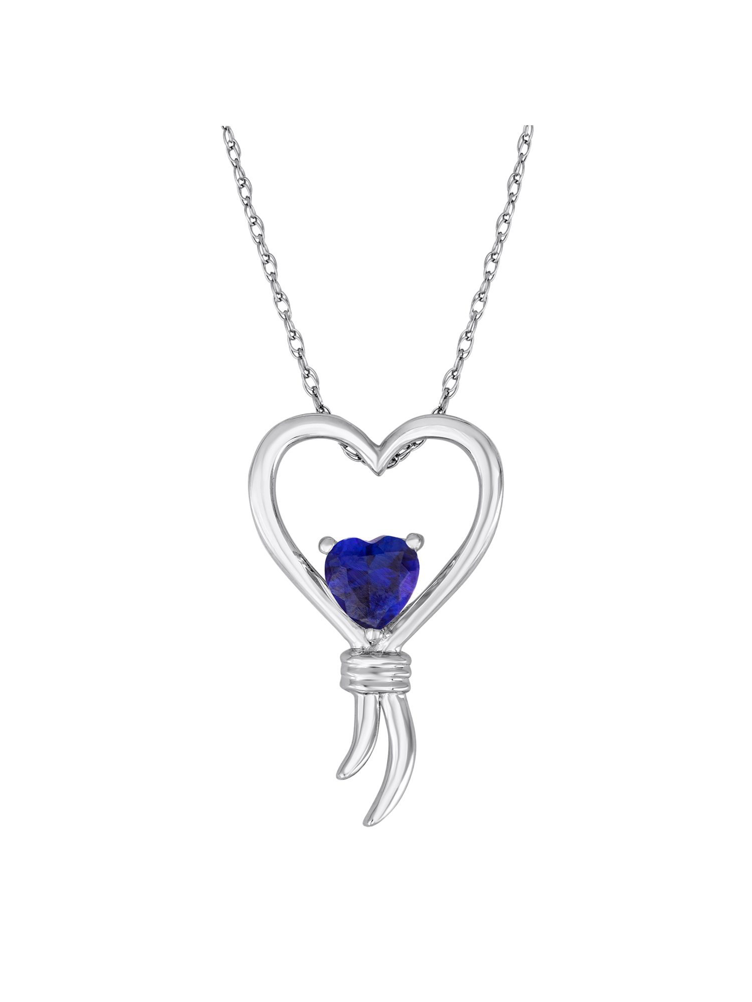 """Knots of Love Sterling Silver Lab-Created Sapphire Heart Pendant, 18"""""""