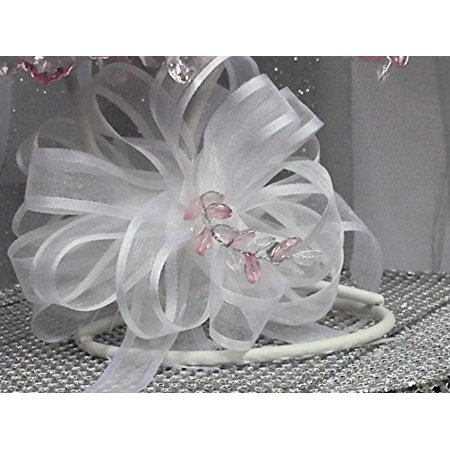 White Sheer Bow for Wedding Pews Tables Flower Girl Baskets and Other - Pew Bows For Weddings