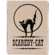 Inkadinkado Halloween Mounted Rubber Stamp-Scaredy Cat 1.5 Inch X