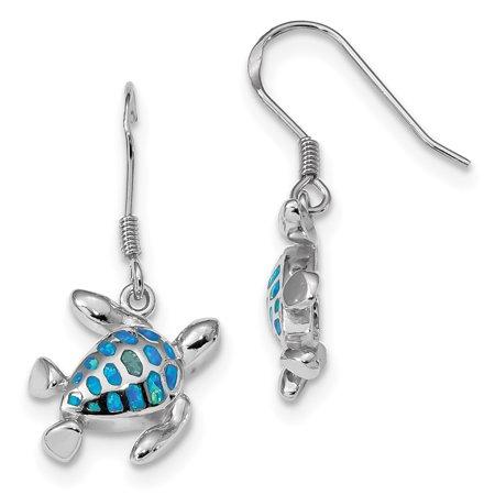 925 Sterling Silver Blue Created Opal Turtle Drop Dangle Chandelier Earrings Animal Sea Life Opal Flat Drop