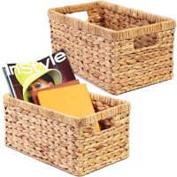 2 Pack Water Hyacinth Hand-woven Rectangular Wicker Storage Basket Bin with Handles, Natural Brown, 12.75 x 7.5 x 6 inches