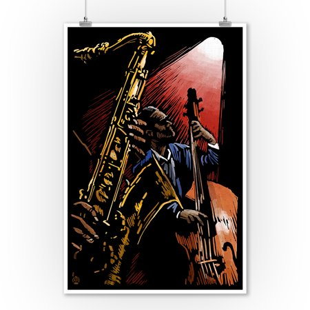 Jazz Band - Scratchboard - Lantern Press Artwork (9x12 Art Print, Wall Decor Travel Poster)