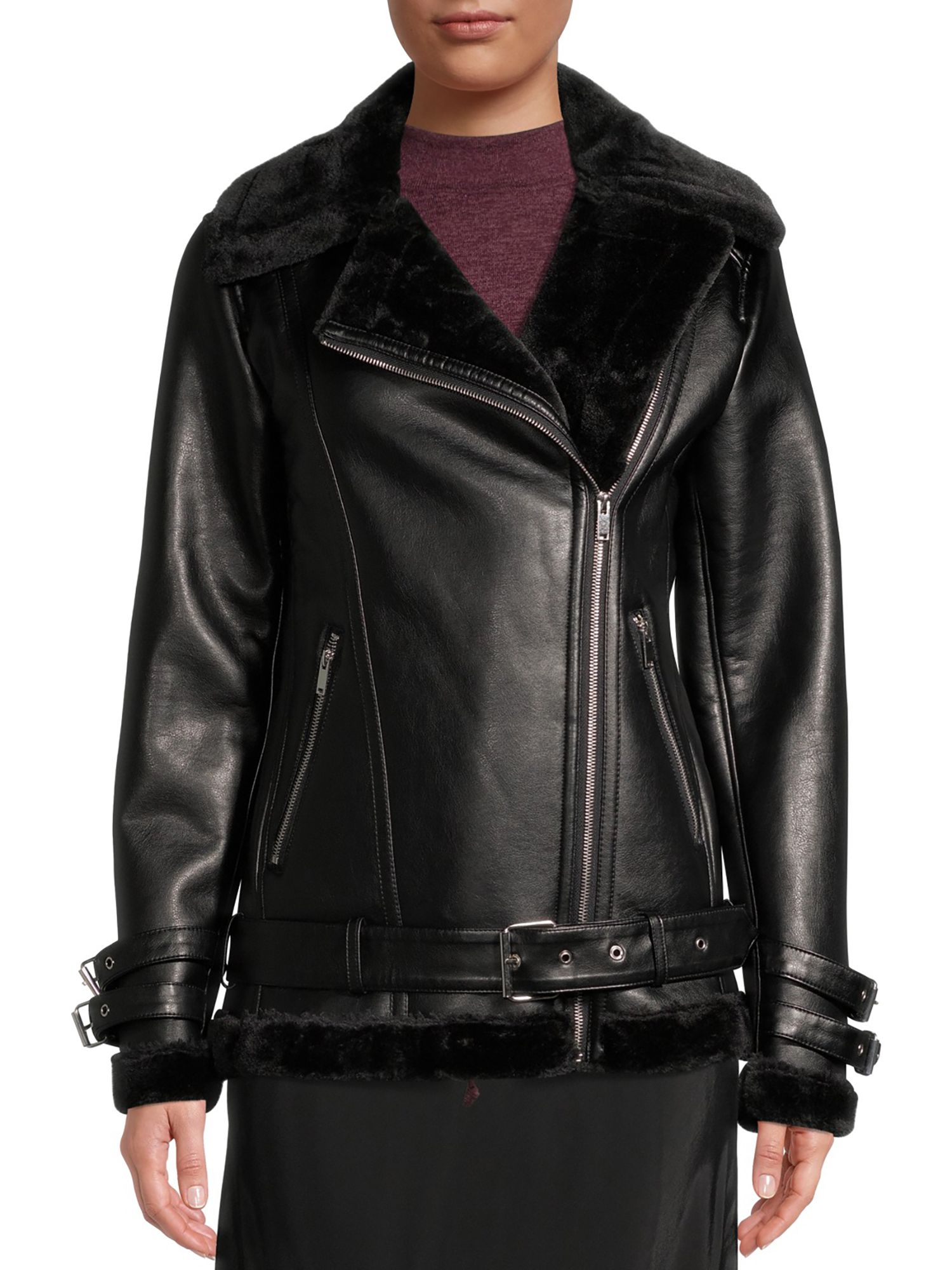 Mark Alan - Mark Alan Women's Vegan Leather Faux Fur Lined Moto Jacket - Walmart.com