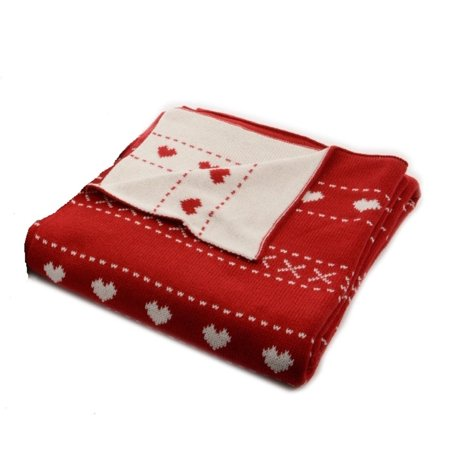 """Alpine Chic Red with White Heart Pattern Knitted Christmas Throw Blanket 50"""" x 60"""" - image 1 of 1"""