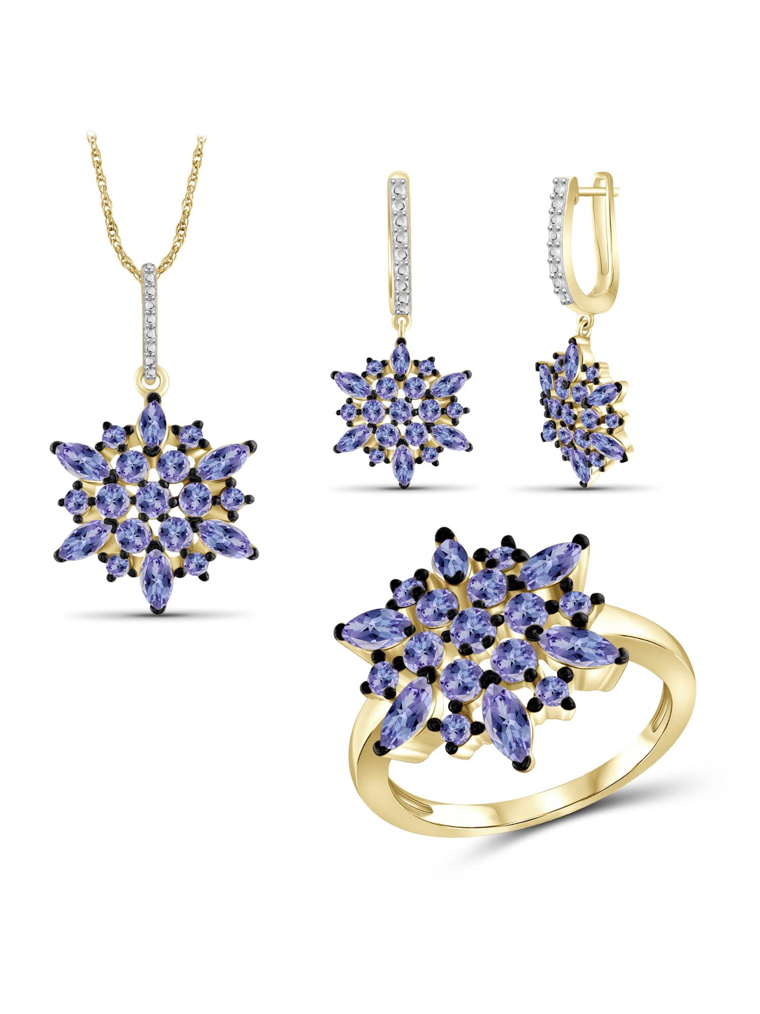 JewelersClub 6 1 4 Carat T.G.W. Tanzanite 14k Gold Over Silver 3-Piece Jewelry set by JewelersClub