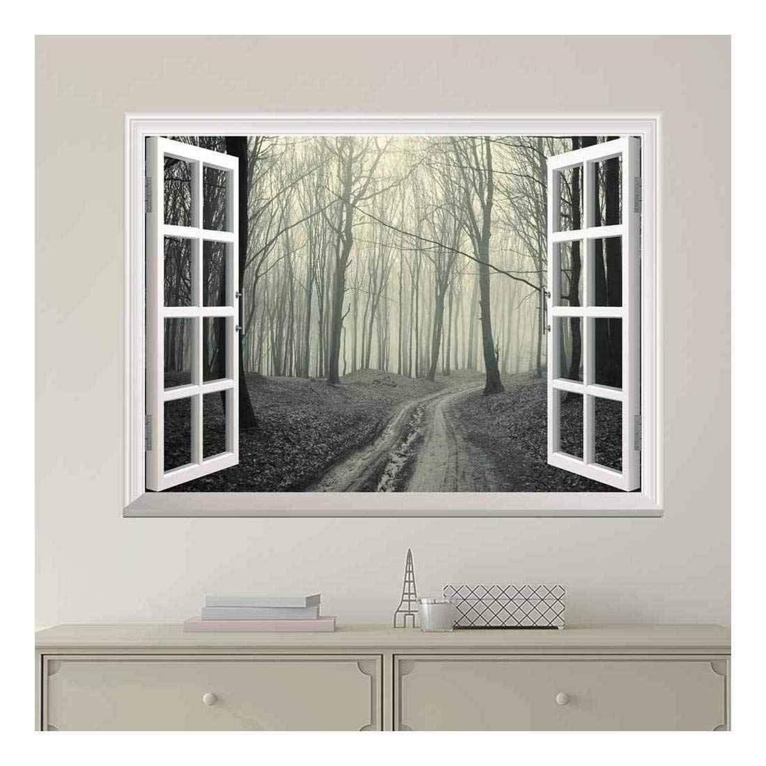 wall26 Modern White Window Looking Out Into a Road that Leads to a Dark Foggy Forest - Wall Mural, Removable Sticker, Home Decor - 24x32 inches