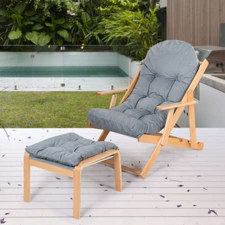 Gymax Folding Recliner Adjustable Lounge Chair Padded Armchair Patio Deck w/ Ottoman - image 2 of 10