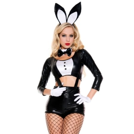 Sinful Bunny Costume Music Legs 70619 Black/White - Music Costumes Ideas