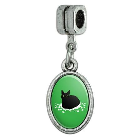 Black Cat Sitting on Feathers Italian European Style Bracelet Oval Charm Bead ()