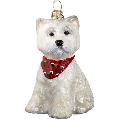 West Highland Terrier Westie Puppy Bandana Dog Polish Glass Christmas Ornament ()