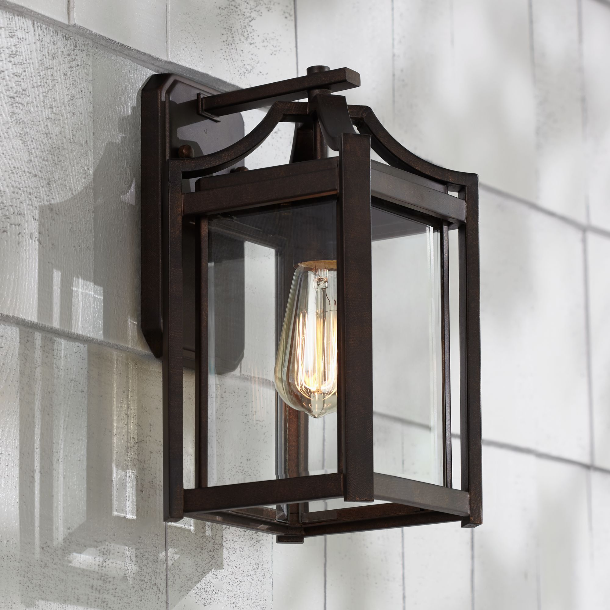 """Franklin Iron Works Rockford Collection 12 1/2"""" High Bronze Outdoor Wall Light"""