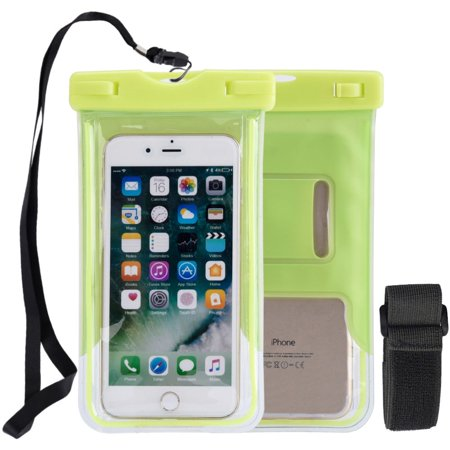 WaterProof Phone Pouch, Universal Waterproof Phone Case Transparent Pouch Glows in Dark Dry Bag With Arm Band Function for Apple iPhone 8, iPhone 8 Plus - Neon Green, Lanyard, Armband, (Transparent Green Waterproof Utility Box)