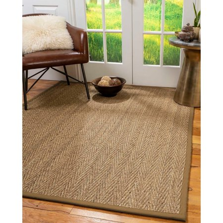 Beach Natural (Natural Area Rugs  100%, Natural Fiber Handmade Beach, Natural Seagrass Rug, Squirrel Border - 9' Runner )