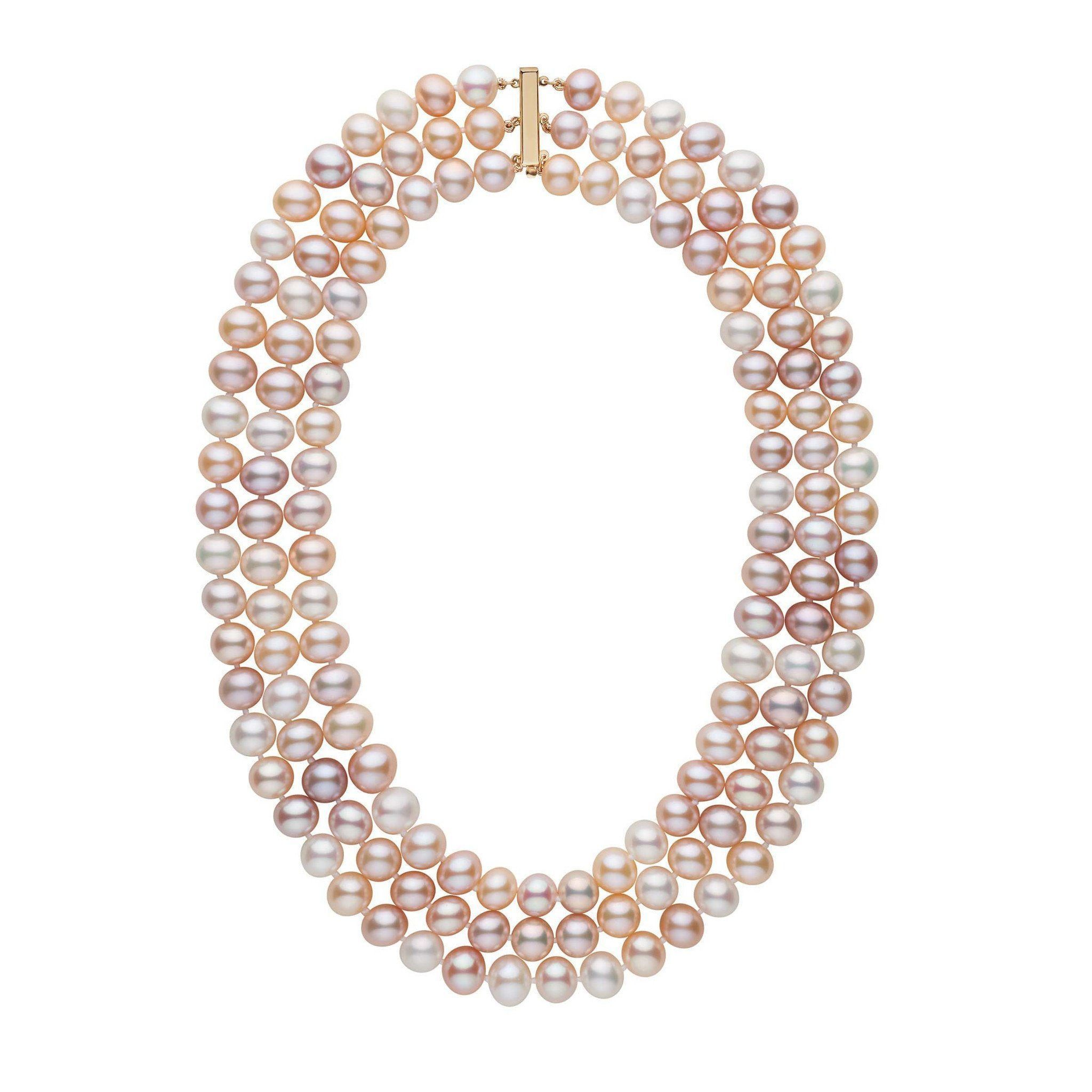 Triple Strand 8.5-9.0 mm AA+ Multicolor Freshwater Cultured Pearl Necklace