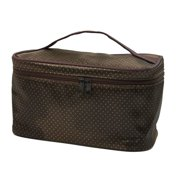 Women Brown Khaki Hand Strap Cosmetic Makeup Bag Pouch Organizer W Mirror