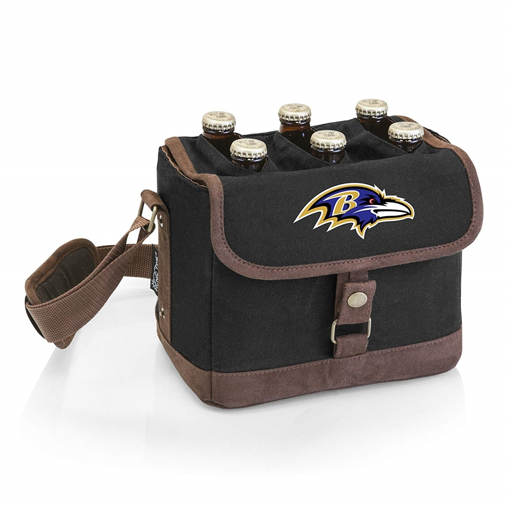 Baltimore Ravens - Beer Caddy Cooler Tote with Opener by Picnic Time (Black)