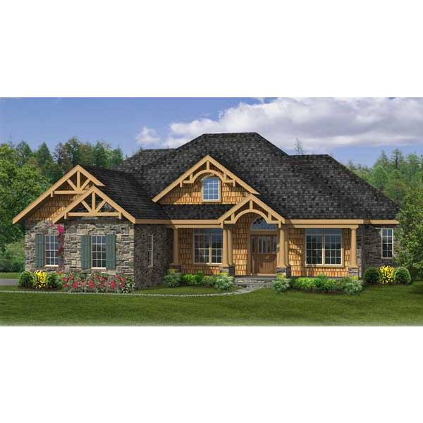 TheHouseDesigners-4422 Traditional Country House Plan with Crawl Space Foundation (5 Printed Sets)