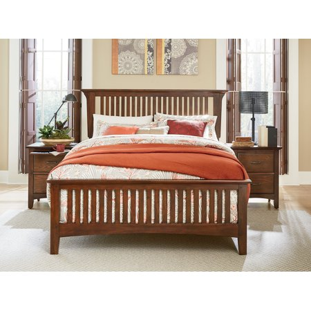 Modern Mission Bed Set with Headboard, Footboard and Bed Rails, Multiple Sizes