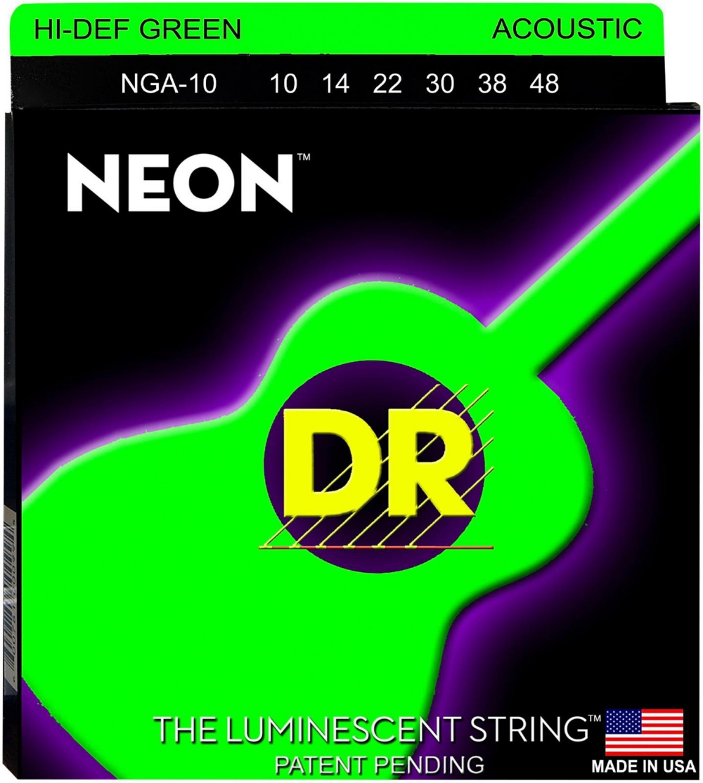 DR Strings Hi-Def NEON Green Coated Acoustic Guitar Strings Lite (10-48) by DR Strings