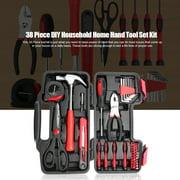 38 Piece DIY Household Home Hand Tool Set Kit Box Hammer Pliers Scissors
