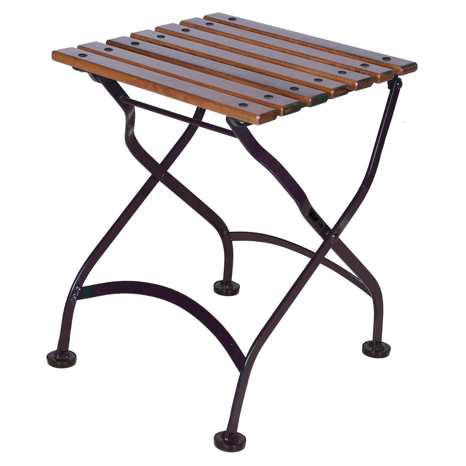 Furniture Designhouse French Veranda European Cafe Square Folding Coffee Table/Bench with European Chestnut Wood Slats