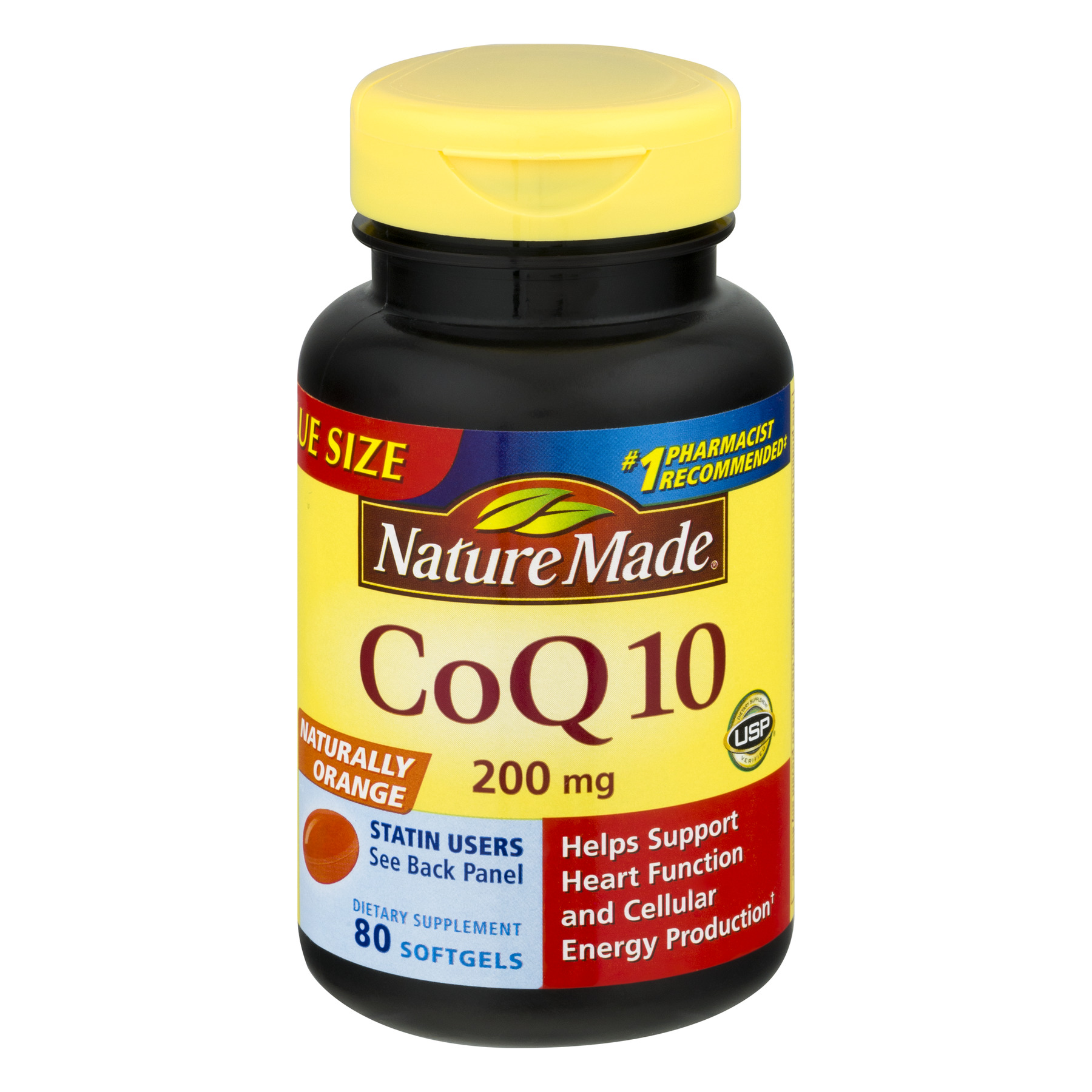 Nature Made Naturally Orange CoQ10 Softgels Value Size, 200 mg, 80 count
