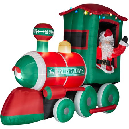 9 long airblown christmas inflatable with realistic santa in train