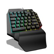 Gaming Keyboard, One-Handed Optical Wired Keyboard with Ergonomic Wrist Restfor Gaming with RGB LED backlighting - Mechanical Gaming Keyboard, 35-Key USB Wired Rainbow Portable Mini-Game Keyboard