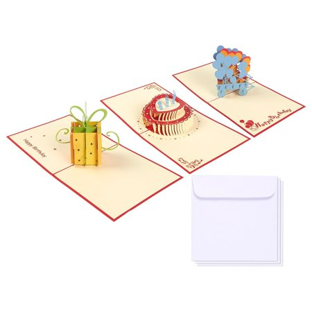 Set of 3 Happy Birthday 3D Pop Up Greeting Cards with Envelopes 4.75 x 4.75 Inches Value Pack Birthday Cake Gift Present Balloon Design for Adults Kids Teen Boys Girls Happy Birthday Car