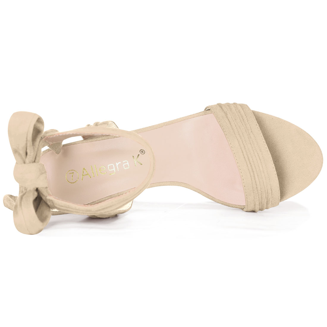 Unique Bargains Women's Ankle Tie Open Toe Block Heel Sandals Beige (Size 9.5) - image 6 of 7