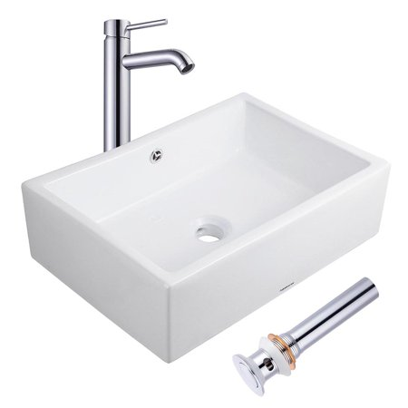 Aquaterior Porcelain Ceramic Vessel Sink + Chrome Faucet + Popup Drain Set for Bathroom Lavatory