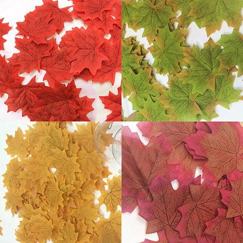 Micelec 100 Pcs Fall Fake Silk Leaves Wedding Favor Autumn Maple Leaf Wedding Decoration