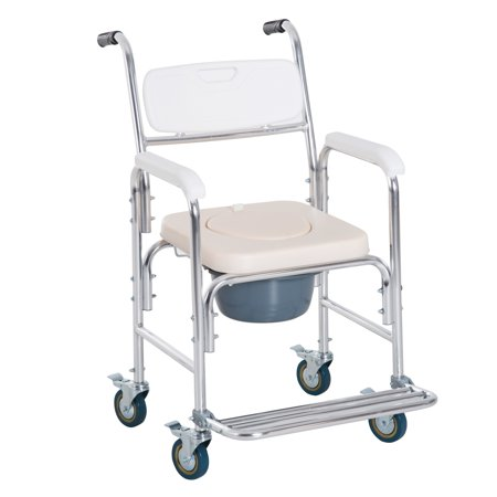 HOMCOM Personal Mobility Assist Waterproof Commode Shower Transport Medical Rolling Chair