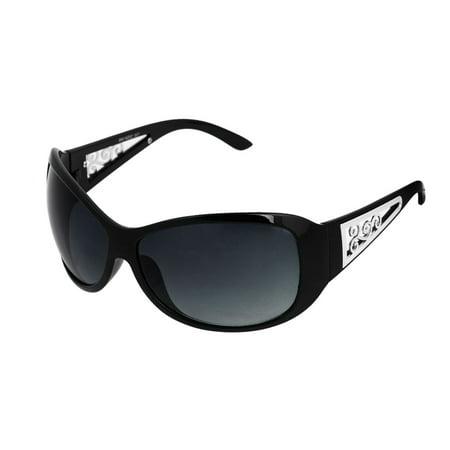Unisex Swirl Flower Pattern Single Bridge Sunglasses Sun Glasses Eyewear (Black Swirl Glass)