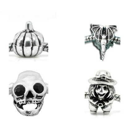 Pack of 4 Halloween Charm Beads. Fits Troll, Biagi, Zable, Chamilia, And Pandora Style Charm Bracelets.